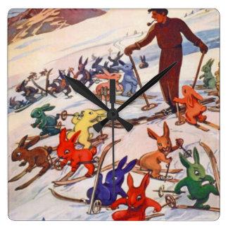 Poster del esquí del vintage, Arlberg, St Antón Reloj Cuadrado