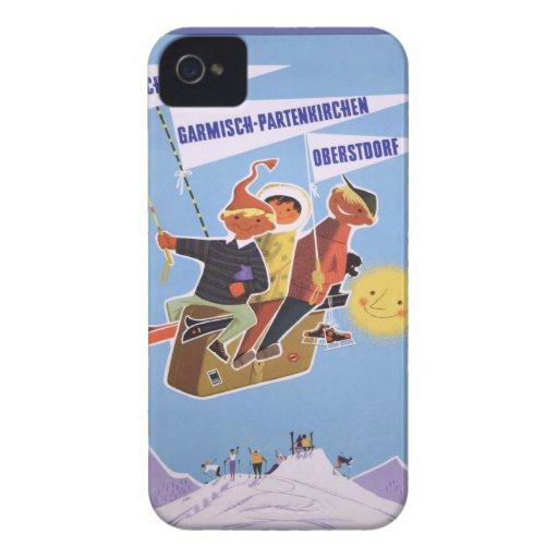 Poster del esquí del vintage, Baviera iPhone 4 Cobertura