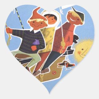 Poster del esquí del vintage, Baviera Pegatina En Forma De Corazón