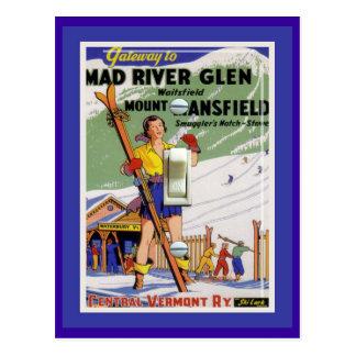 Poster del esquí del vintage, cañada del río Mad Postales