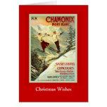Poster del esquí del vintage, Chamonix, Mont Blanc Tarjeton