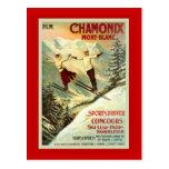 Poster del esquí del vintage, Chamonix, Mt Blanc Postales