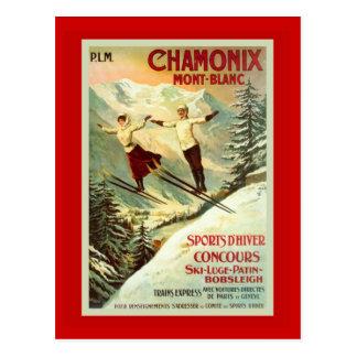 Poster del esquí del vintage, Chamonix, Mt Blanc Tarjeta Postal