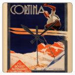 Poster del esquí del vintage, cortina del esquí, I Reloj De Pared