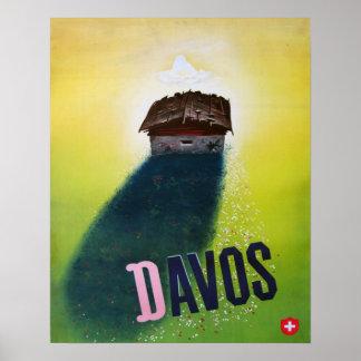 Poster del esquí del vintage, Davos