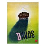 Poster del esquí del vintage, Davos Postal