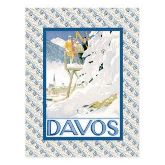 Poster del esquí del vintage, Davos, Suiza Postales