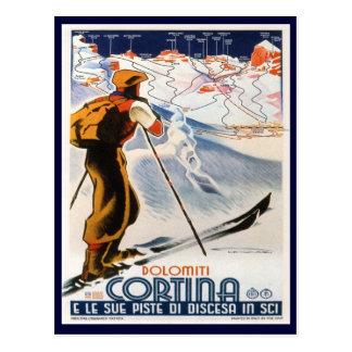Poster del esquí del vintage,    dolomías, cortina tarjetas postales