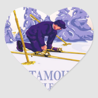 Poster del esquí del vintage, el rastro del pegatina en forma de corazón