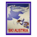 Poster del esquí del vintage, esquí Austria Tarjeta Postal