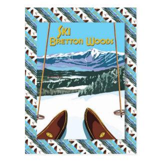 Poster del esquí del vintage, esquí Bretton Woods Tarjeta Postal