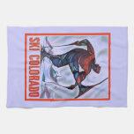 Poster del esquí del vintage, esquí Colorado Toalla De Mano