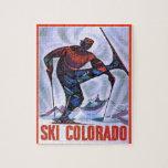 Poster del esquí del vintage, esquí Colorado Rompecabezas Con Fotos