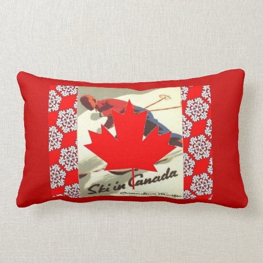 Poster del esquí del vintage, esquí en Canadá Cojín