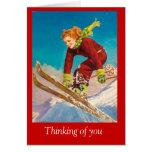 Poster del esquí del vintage, esquiador en declive tarjeton