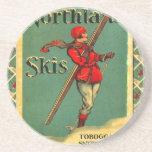 Poster del esquí del vintage, esquís de la tierra  posavasos manualidades