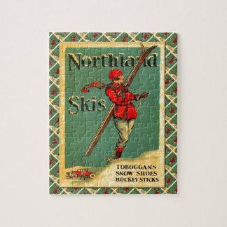 Poster del esquí del vintage, esquís de la tierra  puzzle