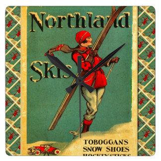 Poster del esquí del vintage, esquís de la tierra  reloj cuadrado