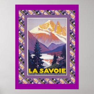 Poster del esquí del vintage, Francia, La Saboya