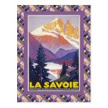 Poster del esquí del vintage, Francia, La Saboya, Postal