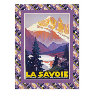 Poster del esquí del vintage, Francia, La Saboya, Tarjetas Postales