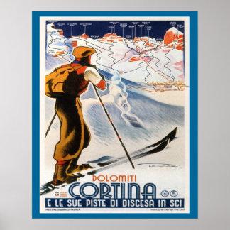 Poster del esquí del vintage, Italia, cortina de l