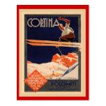 Poster del esquí del vintage, Italia, cortina de Tarjeta Postal