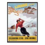 Poster del esquí del vintage, Italia, Limone Postales