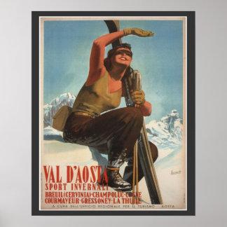Poster del esquí del vintage, Italia, Valle de Aos