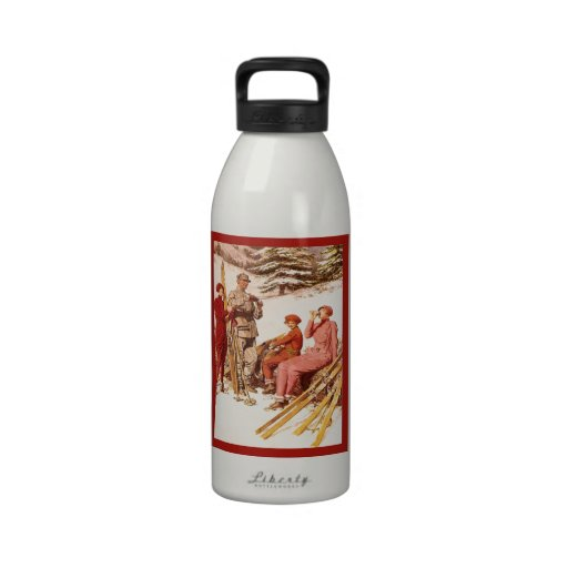 Poster del esquí del vintage, moda en el piste botellas de beber