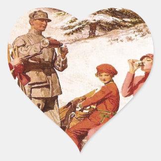 Poster del esquí del vintage, moda en el piste pegatina en forma de corazón