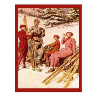 Poster del esquí del vintage moda en el piste tarjeta postal