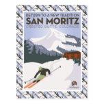 Poster del esquí del vintage, mota con cresta de tarjetas postales