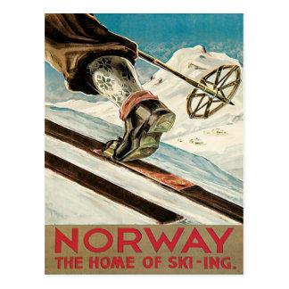 Poster del esquí del vintage, Noruega Tarjeta Postal
