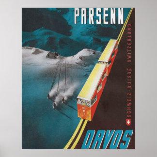 Poster del esquí del vintage, Parsenn, Davos