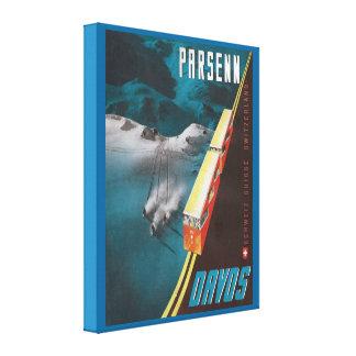Poster del esquí del vintage, Parsenn, Davos Impresiones En Lona Estiradas