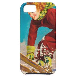 Poster del esquí del vintage, puente de esquí de iPhone 5 carcasas