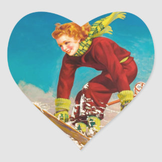 Poster del esquí del vintage, puente de esquí de pegatina en forma de corazón