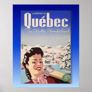 Poster del esquí del vintage, Quebec, país de las