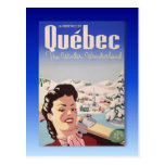 Poster del esquí del vintage, Quebec Postal