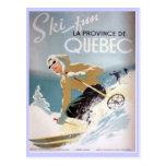 Poster del esquí del vintage, Quebec Tarjetas Postales