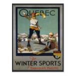 Poster del esquí del vintage, Quebec Tarjeta Postal