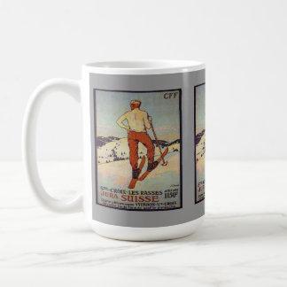 Poster del esquí del vintage rasses el Jura del D Taza De Café