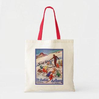 Poster del esquí del vintage, St Antón, Arlberg, e Bolsa Tela Barata