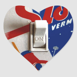 Poster del esquí del vintage,    Stowe, Vermont Pegatina En Forma De Corazón