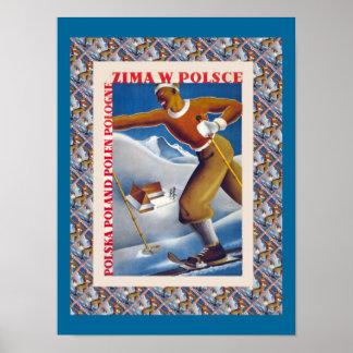 Poster del esquí del vintage, Zima W Polsce, Polon