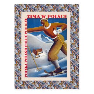 Poster del esquí del vintage, Zima W Polsce, Postales