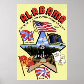 Poster del estado de Alabama debajo de seis bander