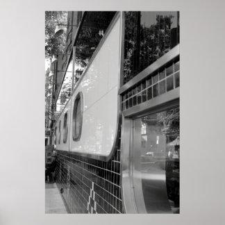 Poster del exterior del restaurante del art déco