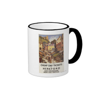 Poster del ferrocarril de la escena del mercado taza de café